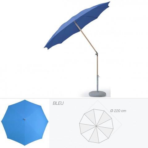 Parasol rond ALEXO de Glatz D.220 cm bleu