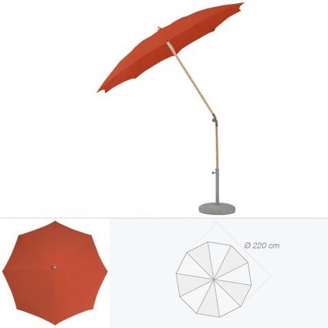 Parasol rond ALEXO de Glatz D.220 cm rouge tomette