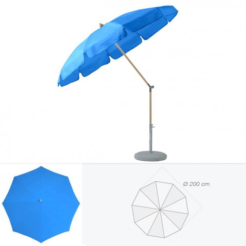 Parasol rond avec volant ALEXO de Glatz D.200 cm bleu roi