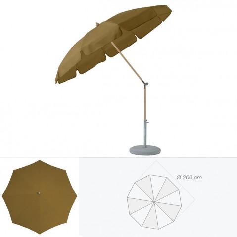 Parasol rond avec volant ALEXO de Glatz D.200 cm café au lait