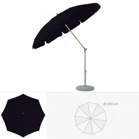Parasol rond avec volant ALEXO de Glatz D.200 cm Noir d'anilime