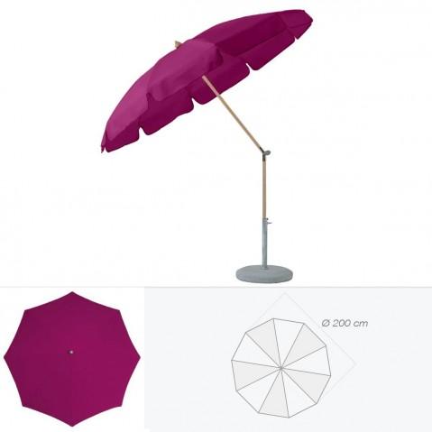 Parasol rond avec volant ALEXO de Glatz D.200 cm prune