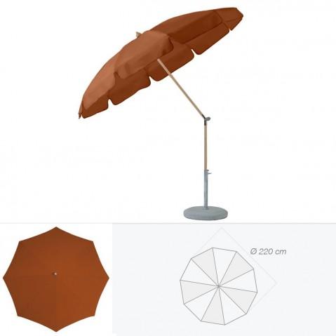 Parasol rond avec volant ALEXO de Glatz D.220 cm acajou