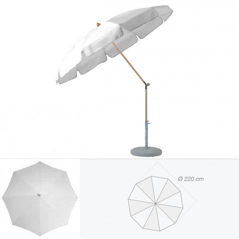 Parasol rond avec volant ALEXO de Glatz D.220 cm argent