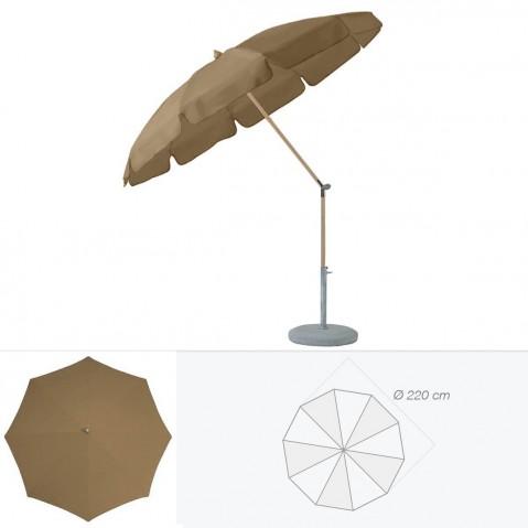 Parasol rond avec volant ALEXO de Glatz D.220 cm bistre