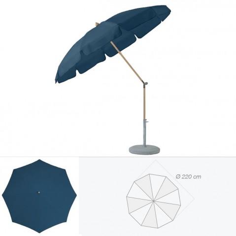 Parasol rond avec volant ALEXO de Glatz D.220 cm bleu de prusse