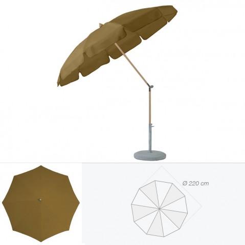 Parasol rond avec volant ALEXO de Glatz D.220 cm café au lait