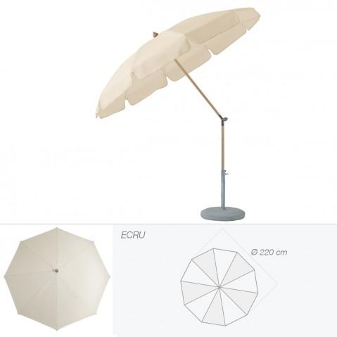 Parasol rond avec volant ALEXO de Glatz D.220 cm écru