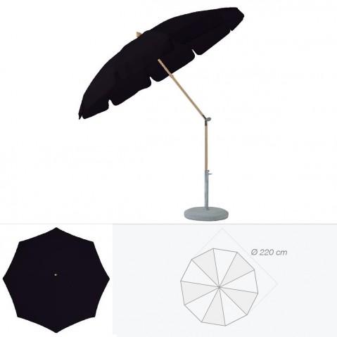 Parasol rond avec volant ALEXO de Glatz D.220 cm Noir d'anilime