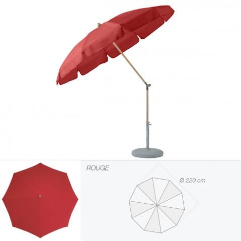 Parasol rond avec volant ALEXO de Glatz D.220 cm rouge