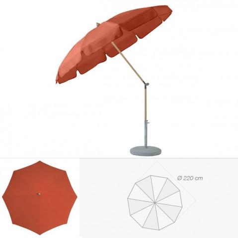 Parasol rond avec volant ALEXO de Glatz D.220 cm rouge tomette
