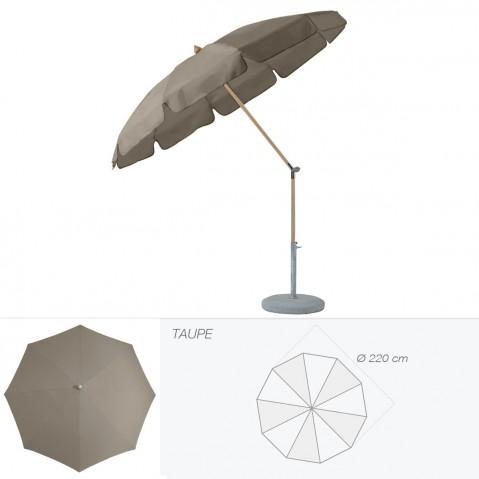 Parasol rond avec volant ALEXO de Glatz D.220 cm taupe