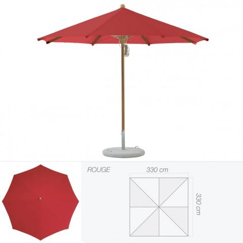 Parasol TEAKWOOD de Glatz carré rouge