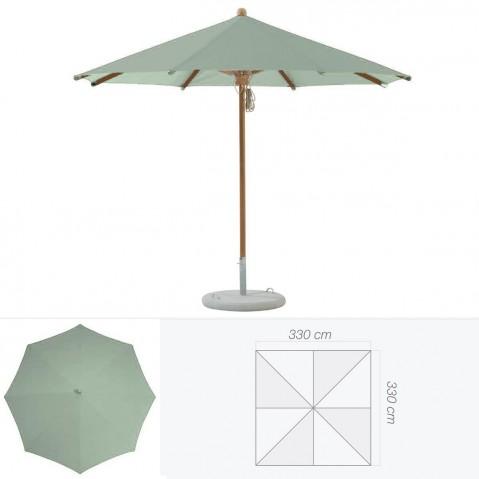 Parasol TEAKWOOD de Glatz carré vert de gris