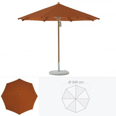 Parasol TEAKWOOD de Glatz rond D.300 cm acajou
