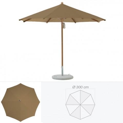 Parasol TEAKWOOD de Glatz rond D.300 cm bistre