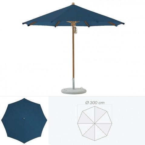 Parasol TEAKWOOD de Glatz rond D.300 cm bleu de prusse