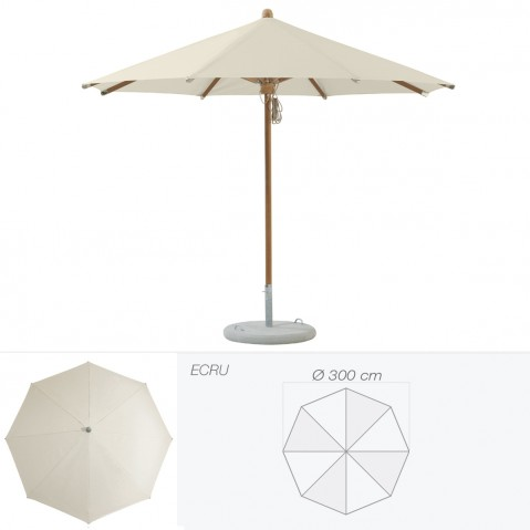 Parasol TEAKWOOD de Glatz rond D.300 cm écru