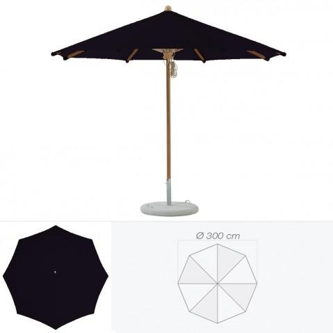 Parasol TEAKWOOD de Glatz rond D.300 cm Noir d'anilime