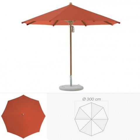 Parasol TEAKWOOD de Glatz rond D.300 cm rouge tomette