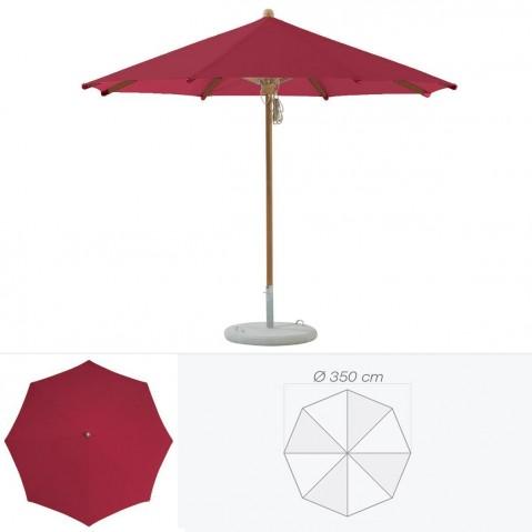 Parasol TEAKWOOD de Glatz rond D.350 cm amarante