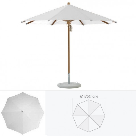 Parasol TEAKWOOD de Glatz rond D.350 cm argent