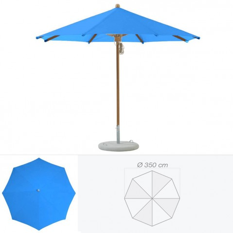 Parasol TEAKWOOD de Glatz rond D.350 cm bleu roi