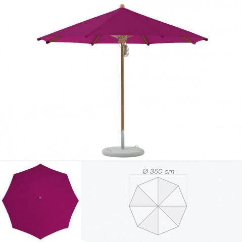Parasol TEAKWOOD de Glatz rond D.350 cm prune