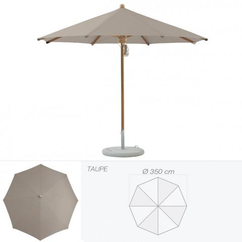 Parasol TEAKWOOD de Glatz rond D.350 cm taupe
