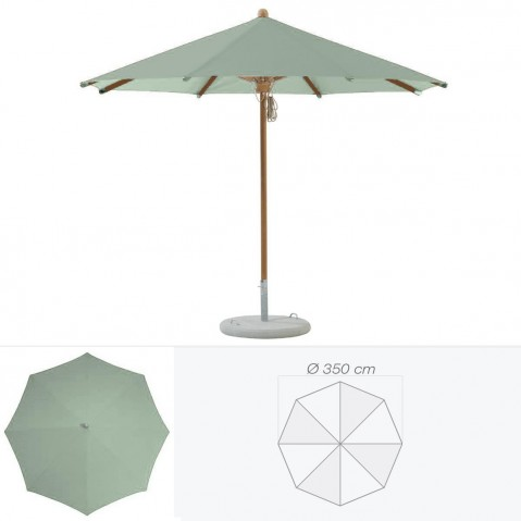 Parasol TEAKWOOD de Glatz rond D.350 cm vert de gris