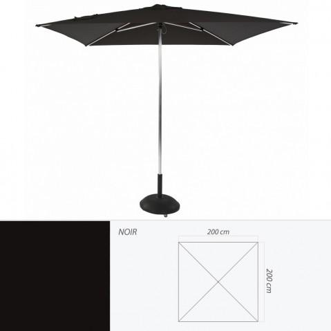 Parasol TIKI PUSH-UP de Jardinico carré 200x200 noir