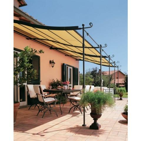 pergola solaire adoss e courb e de unopiu 39 x couverture en cannes de bambou. Black Bedroom Furniture Sets. Home Design Ideas