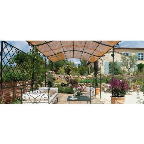 pergola solaire autoport e courb e de unopiu 39 x couverture en cannes de bambou. Black Bedroom Furniture Sets. Home Design Ideas