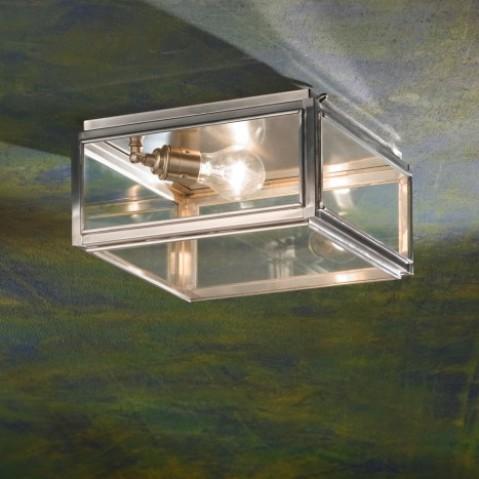Plafonnier Nautic CHELSEA MEDIUM bronze nickelé mat verre clair