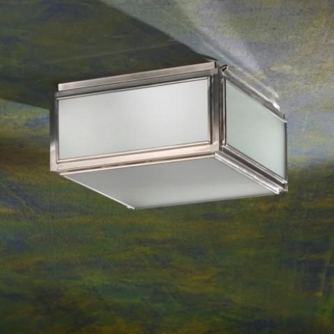 Plafonnier Nautic CHELSEA MEDIUM bronze nickelé mat verre sablé