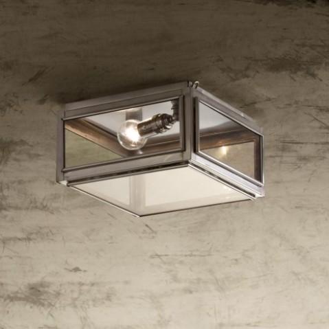 Plafonnier Nautic CHELSEA SMALL bronze nickelé mat verre clair