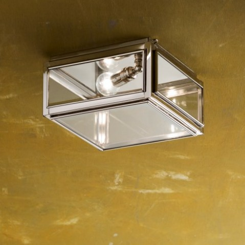 Plafonnier Nautic CHELSEA SMALL bronze nickelé poli verre clair