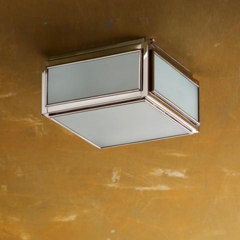 Plafonnier Nautic CHELSEA SMALL bronze nickelé poli verre sablé