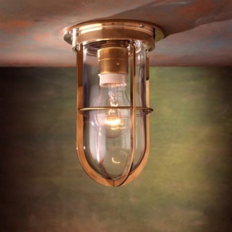 Plafonnier Nautic DOCKLIGHT CEILING bronze poli verre clair