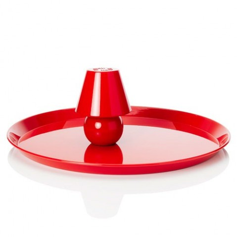 Plateau Snacklight Ø 55 cm / Avec lampe LED aimantée de Fatboy,RED