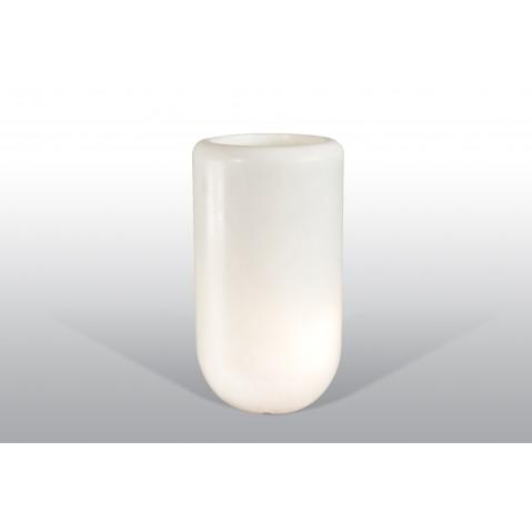 Pot lumineux Bloom Pill H.70 cm blanc