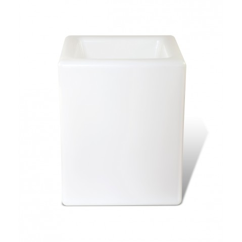 Pot lumineux BLOOM SQUARE H.50 cm blanc