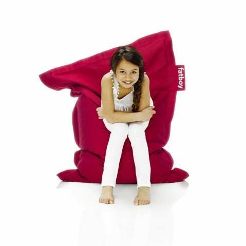 Pouf THE JUNIOR STONEWASHED de Fatboy, Rouge