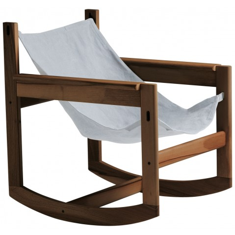 Roking-chair PELICANO de Objekto, Ecru, Structure en noyer