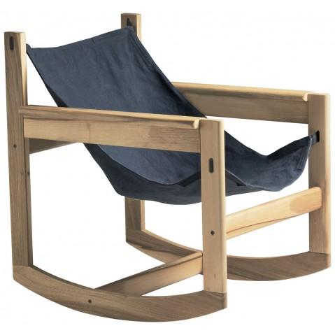 Roking-chair PELICANO de Objekto, Gris-Bleu, Structure en chêne
