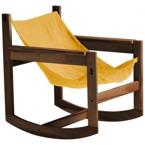 Roking-chair PELICANO de Objekto, Or, Structure en noyer