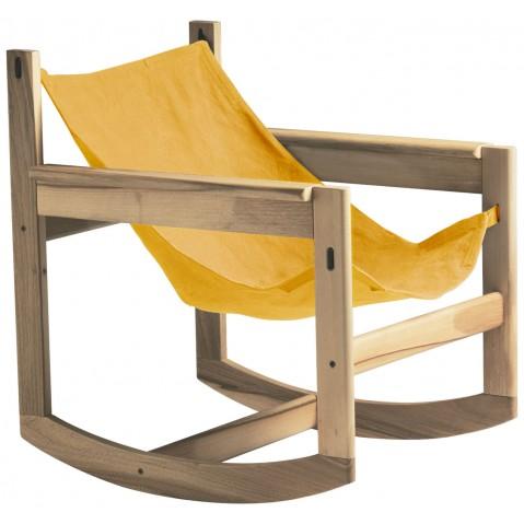 Roking-chair PELICANO de Objekto, Paprika, Structure en chêne