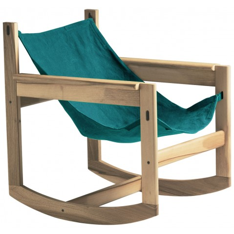 Roking-chair PELICANO de Objekto, Turquoise, Structure en chêne