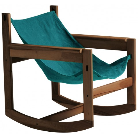Roking-chair PELICANO de Objekto, Turquoise, Structure en noyer