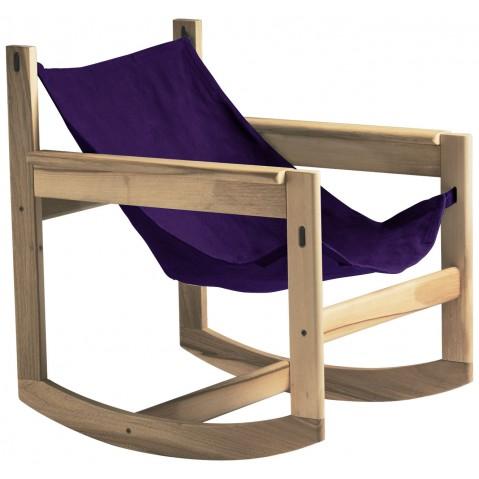 Roking-chair PELICANO de Objekto, Violet, Structure en chêne
